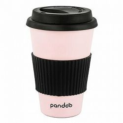 PANDOO Opakovane použiteľný bambusový téglik na kávu a čaj, 450 ml ružový